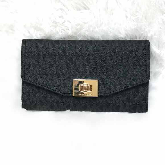 23df13f6592c Michael Kors Cassie Large Trifold Wallet in Black